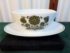 Mid-Century Noritake Cook 'n Serve September Song Gray Boat w/Attach Underplate