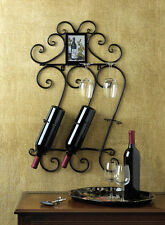 "BLACK  SCROLLWORK WALL WINE RACK - 28 1/2"" HIGH - IRON"
