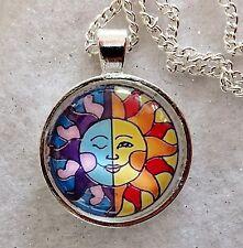 "SUN & MOON  1""glass pendant necklace handmade silver plated 18""chain reiki"