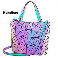 丿Women Geometric Luminous Shard Lattice Eco-Friendly Leather Holographic Handbag