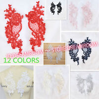 BF179 2PC, Flower Motif Fabric Embroidered Lace Trim Sewing Applique Dress Decor
