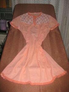 Vintage Nachthemd Nachtwäsche orange Spitze kurzarm Gr. L - XL