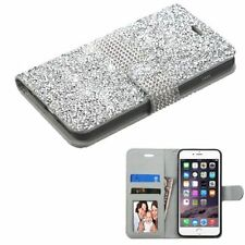 For Apple iPhone 6 Plus/6s Plus Silver Leather Bling Case Cover w/card slot
