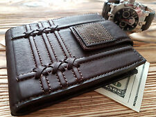 Mens Real Natural Leather Wallet Fine Genuine Geometrical Engraved Calfskin
