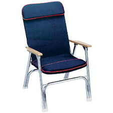 High Back Canvas Covered Aluminum Folding Chair for Boats, Pontoons and Docks