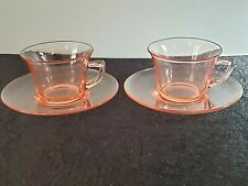 Set of 2 Vintage Cambridge TEA / COFFEE CUP & SAUCER Pink Depression Glass, Rare