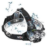 Head Torch LED Rechargeable, Neolight Super Bright USB Headlamp, 6 Modes Waterpr