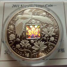 Canada 15 dollars 2011 Maple of Happiness  Bird hologram Silver 31.4 gr  Boх COA