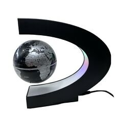 GLOBE FLOATING AND ROTATING IN MIDAIR IN C SHAPED LEVITATION | BLACK - SILVER