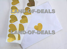 50 HEART stickers envelope seals gold foil embossed metallic stickers wedding