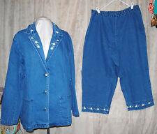Denim & Co Stretch Denim Crop Pant & 3 Button Jacket Set Embroidery 3X New Tags