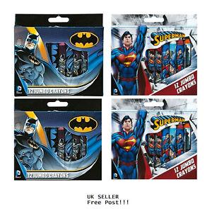 Batman/Superman 12 Jumbo Crayons Crayon Colouring Set DcComics New UK Free Post