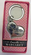 MARGARET Camille heart silver color personalized KEYCHAIN BRAND NEW IN PACKAGE