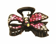 MiniE015 pink mini size hairstyling crystal embellished sequined jaw hair clip