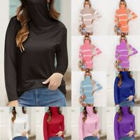 Women's Casual Loose Turtleneck Long Sleeve Face Mask Tops Blouse T-shirt