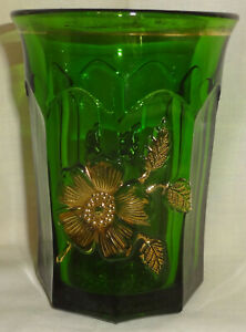 "Antique Signed NORTHWOOD green GOLD ROSE pattern 4"" WATER TUMBLER"