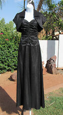 KM COLLECTIONS BY MILLA BELL SIZE 6 BLACK EVENING DRESS GOWN & JACKET BEADS