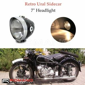 "Motorcycle Ural Side Car Black 7"" H4 Headlight Head Lamp For BMW M1 R75 R61 R12"