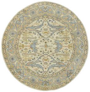 Oushak Rug, 7'x7', Round, Ivory/Grey, Hand-Knotted Wool Pile