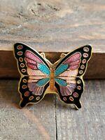 Vintage enamel butterfly Cloisonne brooch