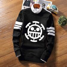 Anime One Piece Law Skull Striped Hoodie Crew Neck Pullover Sweatshirt Tops Coat