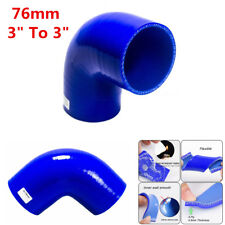 """High Quality 3"""" To 3"""" 76mm Silicone 90 Degree Elbow Reducer Turbo Pipe Hose Blue"""