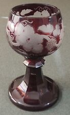 Ruby Red Cut To Clear Large Pedestal Goblet Compote Dessert Bowl EUC