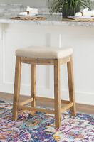 Modern Cushioned Counter Stool Saddle Seat Dining Bistro Chair Nailheads Motif