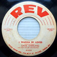 DAVE STERLING teen pop REV strong VG+ 45 I WANNA BE LOVED b/w YOU'RE HERE  J1031