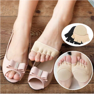 Women High Heels Sandal Invisible Half Footie Open Toe Socks Non Slip with Pad