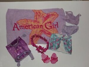 American Girl Summer Lot Swimsuits, Backpack, Towel, Sandles, Lei, Pareo
