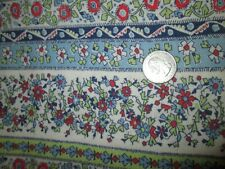 Vintage flour/seed sack fabric-red, blue, green flowers/stripe