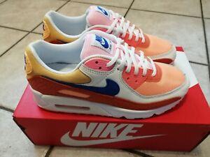 Nike Air Max 90 Damen, Wmns Sneaker Sportschuh Campfire Orange Racer Blue 40