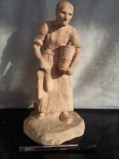 Ancienne, Sculpture, terre cuite de A.J.HALOU, Vieille femme travaillant