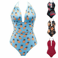 Women's One Piece Swimsuits Tummy Control Swimwear Slimming Bathing Suit Halter