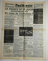 N690 La Une Du Journal Paris-soir 22 août 1940 la France et le Japon