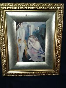 MARIE LAURENCIN REPRODUCTION OF LADIES- PRINT ON CANVAS ORNATE GOLD/SILVER FRAME