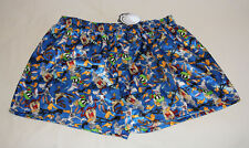 Looney Tunes Group Mens Blue Printed Satin Boxer Shorts Size S New