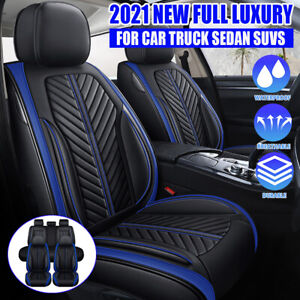 5D PU Leather Full Set 5 Seats Car Seat Cover Front & Rear Deluxe Auto Cushion