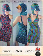 PUBLICITE ADVERTISING 055  1966  BAN-LON NYLFRANCE  robes CHLOE haute couture