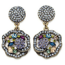 HEIDI DAUS Anemone Crystal Drop Earrings Cushion Back Clip On New In Box