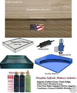 Queen SOFTSIDE WATERBED MATTRESS w/ Bamboo Cover, Free Flow bladder and Heater