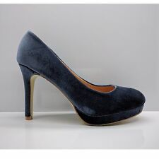 WOMENS LADIES BLUE GREY SUEDE STILETTO WEDDING PARTY PROM HEELS COURT SHOES SIZE