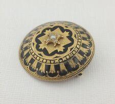 Antique Victorian  mourning brooch / pendant, 15ct gold, diamonds, black enamel