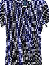 Secretary Vtg 80S Sophisticate Pintucks Black Polka Dot Tea Dress Women P S Size