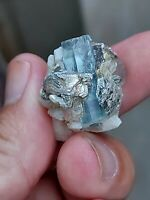 Natural Blue Aquamarine specimen Crystal with small garnet Nagar Gilgit Pakistan