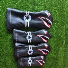 4PCS/Set Golf Black Toothy Shark Wood Driver Fairway Hybrid Cover for Callaway
