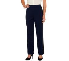 George Simonton Regular Ponte Pull On Pants W/ Faux Leather Size S BLACK/BLACK