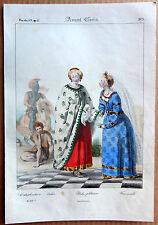 GRAVURE COULEUR 1834 DELAUNOIS COSTUMES AVANT CLOVIS FEMME NOBLE k912