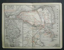 Antica Stampa Topografica= SIRACUSA - Dintorni =Sicilia1909.Scala 1:55000 Meyers